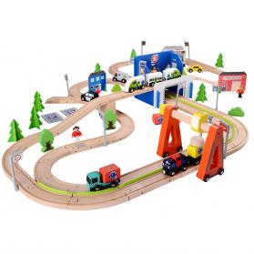 Train en bois grand circuit 129 pcs