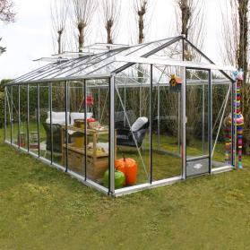 Serre en verre trempé Lams ESSENTIA 18,70 m² - Aluminium naturel