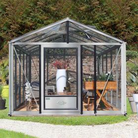Serre en verre trempé Lams SUPRA 19,00 m² - Aluminium naturel