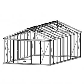 Serre en verre trempé Lams SUPRA 25,80 m² - Aluminium naturel