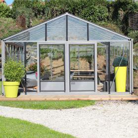 Serre en verre trempé Lams SUPRA 31,20 m² - Aluminium naturel