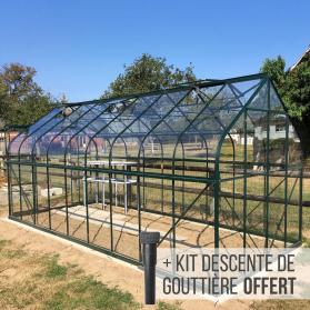 Serre en verre trempé 3 mm ALOÉ 14,40 m² - Verte