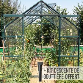 Serre verre trempé Lams ALOÉ 8,10 m² avec base - Verte