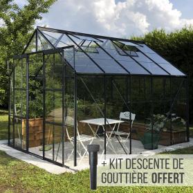 Serre en verre trempé 3 mm LAURUS 8,10 m² - Gris anthracite