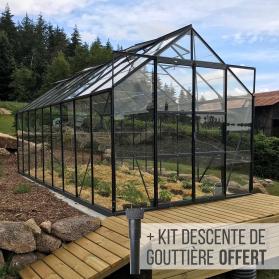 Serre en verre trempé 3mm LAURUS 14,40 m² - Gris anthracite