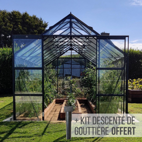 Serre en verre trempé 3 mm LAURUS 14,40 m² - Verte