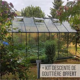 Serre en verre trempé 3mm LAURUS 12,90 m² - Gris anthracite