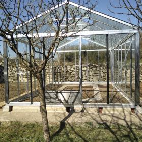 Serre en verre trempé Lams SUPRA 20,10 m² - Aluminium naturel