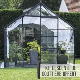 Serre en verre trempé 3 mm CARVI 8,10 m² - Gris anthracite