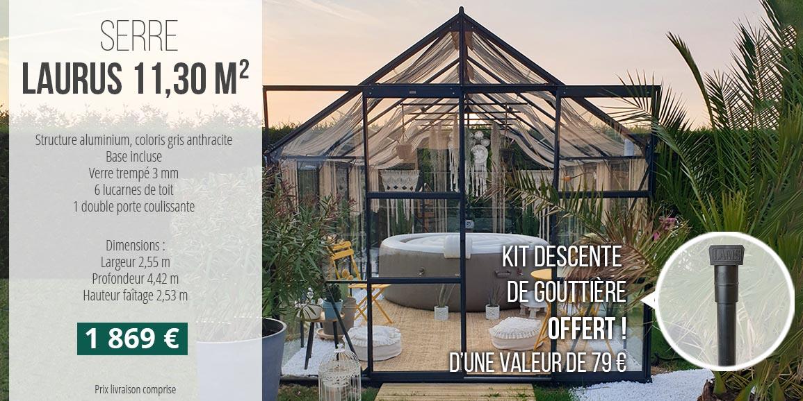 Serre Laurus 11,30 m² coloris gris anthracite